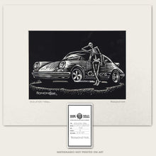 Load image into Gallery viewer, skeleton driver of a porsche 911 carrera art by bomonster