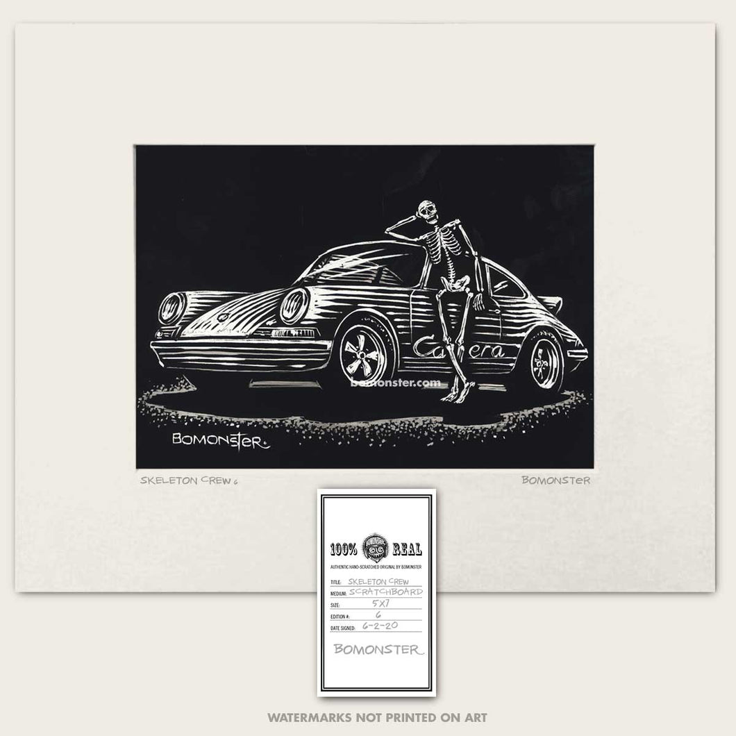 porsche carrera skeleton art by bomonster