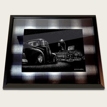Load image into Gallery viewer, framed bomonster art of 1949 chevy truck in front of tito's tacos
