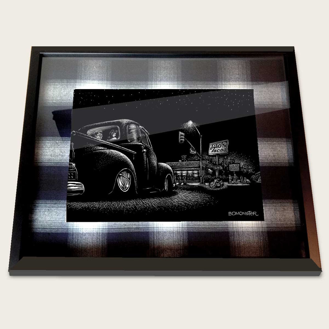 framed bomonster art of 1949 chevy truck in front of tito's tacos