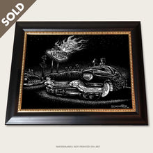 Load image into Gallery viewer, bomonster custom cadillac art of owners looking at flames from las vegas sign