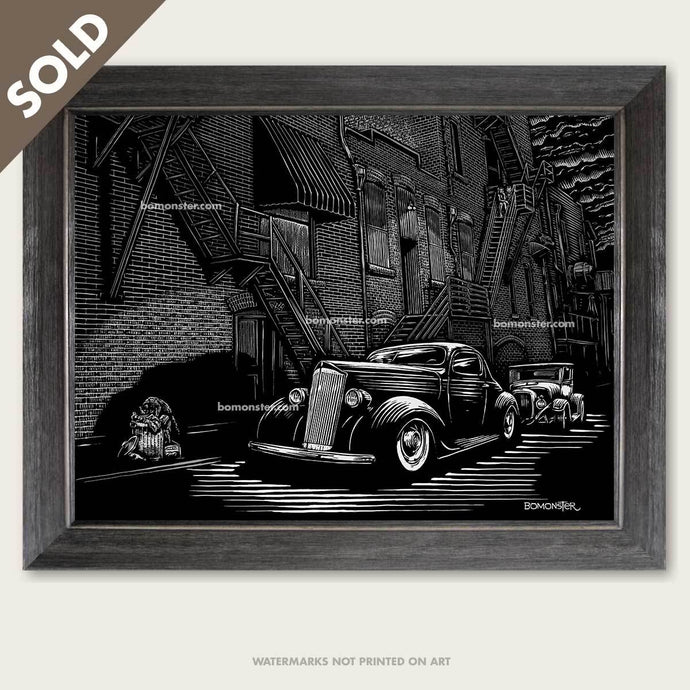 custom packard and hot rod truck in alley art by bomonster