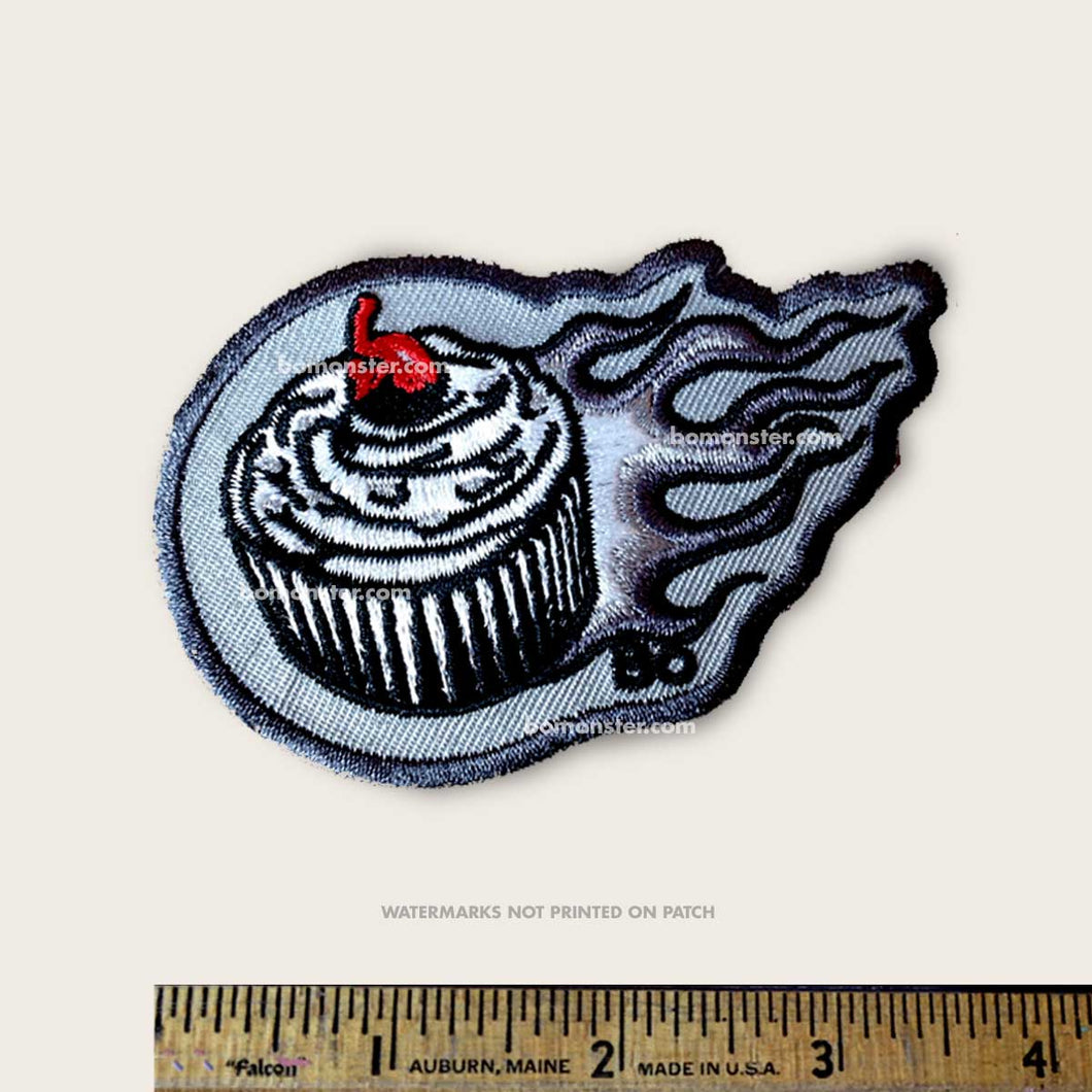 bomonster patch with cuscake and hot rod flames