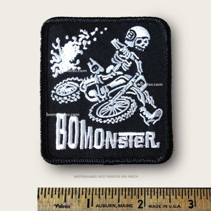 bomonster skeleton dirt bike rider patch