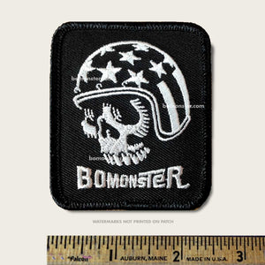 patch of skull rider with american flag helmet