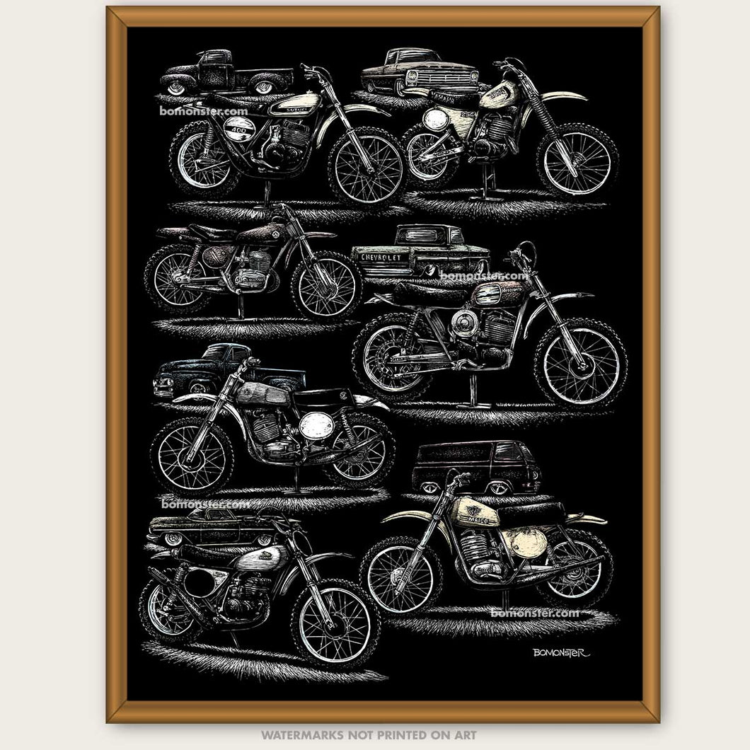 Dirt Bike art, Motorcycle drawing, Motocross race gift, Supercross art print, Original art, Let's Ride, Man Cave Den poster, artist BOMONSTER