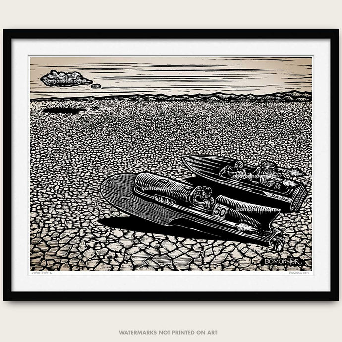 bomonster art print of drag boat race scene on dry lake