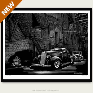 whiskey row custom car litho print by bomonster
