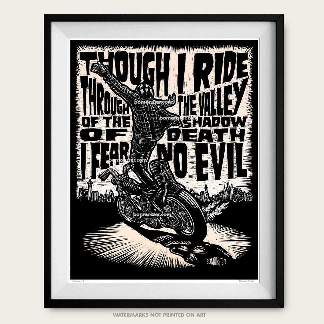 bomonster chopper art of rider standing at speed with psalm 23 words