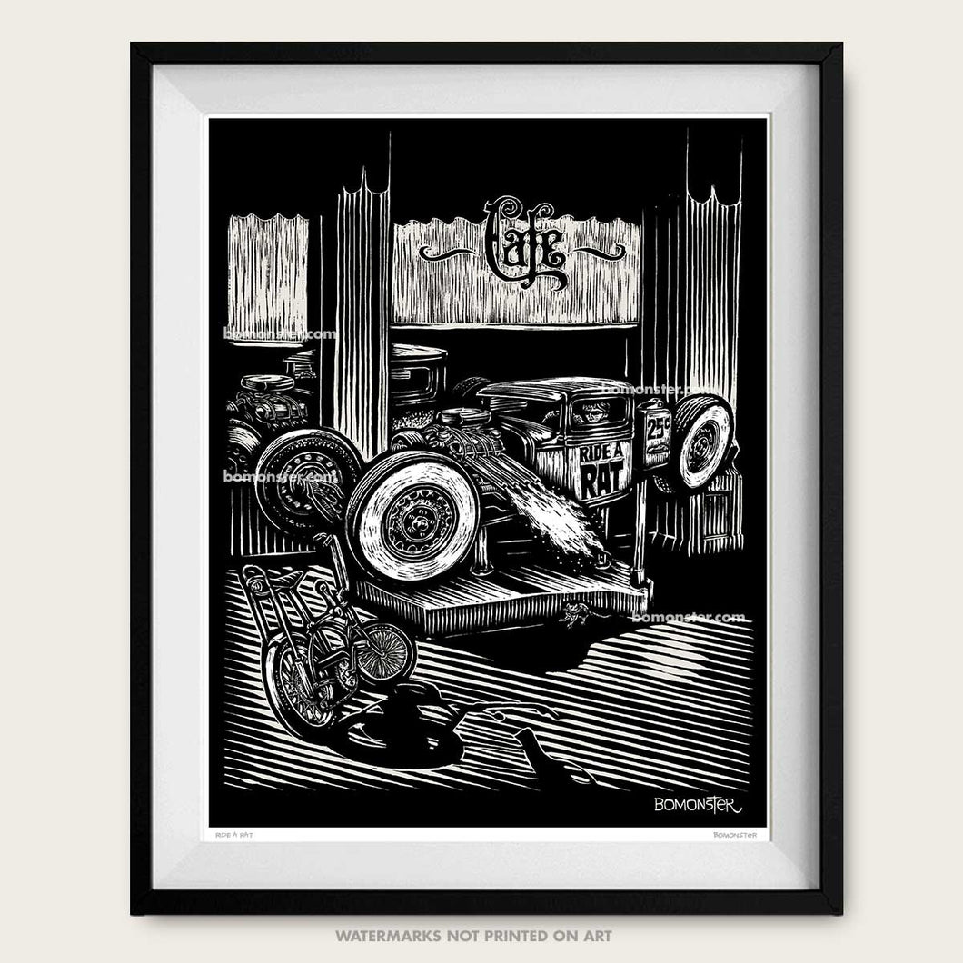 bomonster rat rod art print of kid in hot rod ride