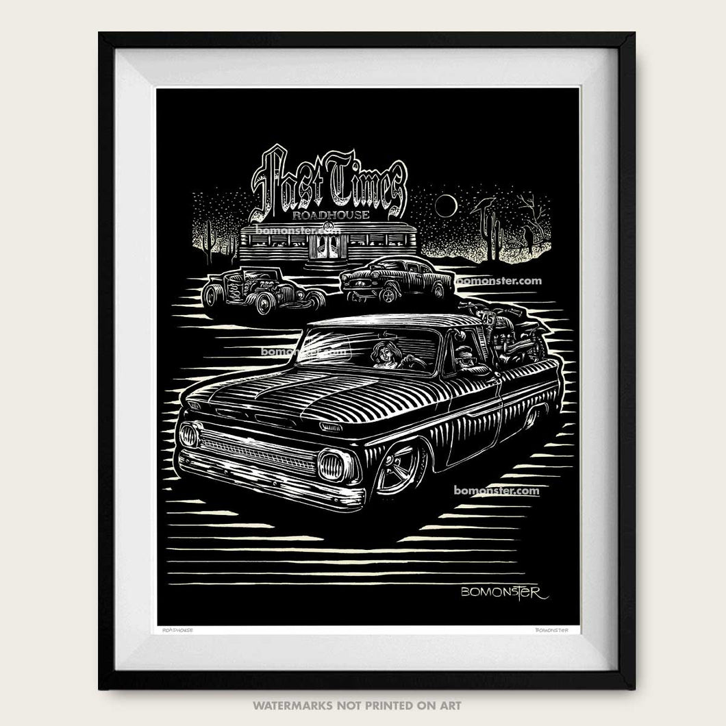 chevy c-10 truck and roadside diner by bomonster