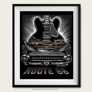 bomonster art of cadillac fins and bb king lucille guitar on route 66