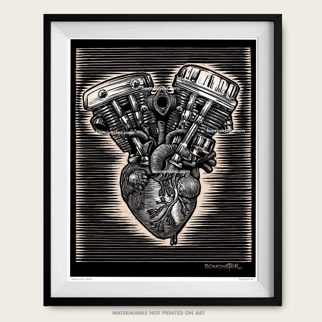 bomonster harley art of panhead and shovelhead motors on human heart