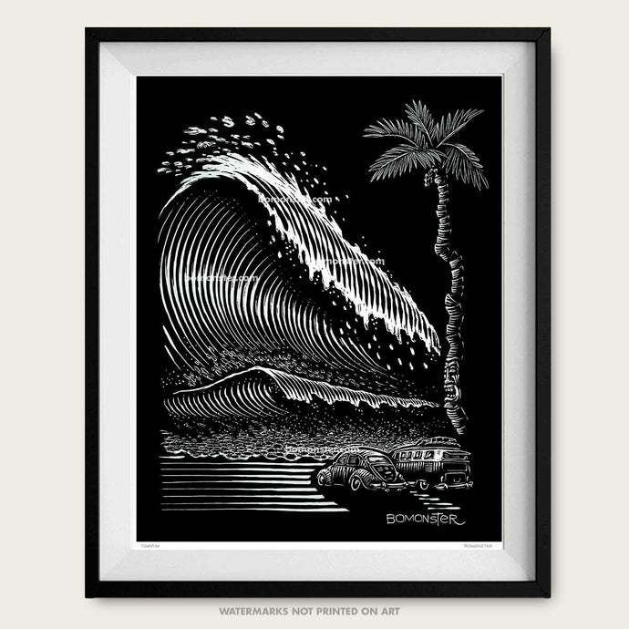 bomonster vw bug art of giant tsunami surf wave