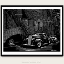Load image into Gallery viewer, Custom packard and Model a hot rod in alley. Art by bomonster