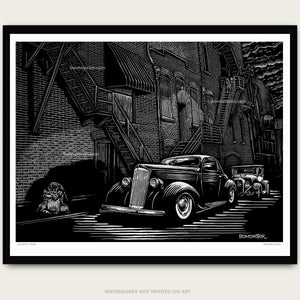 Custom packard and Model a hot rod in alley. Art by bomonster