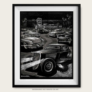 Bob's Big Boy art print, hot rod drawing, car guy gift, Original art, Bob's Night Out, Man Cave Den poster, artist BOMONSTER