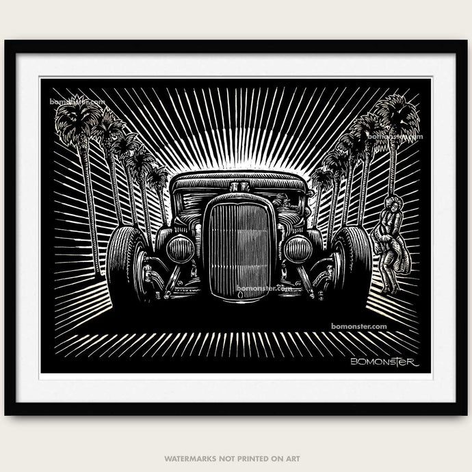 bomonster hot rod art of model a coupe blowing skirt of marilyn monroe