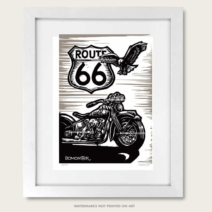 classic harley-davidso panhead and route 66 sign litho print by bomonster