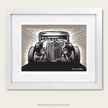Load image into Gallery viewer, hot rod art by bomonster of a model a coupe front view