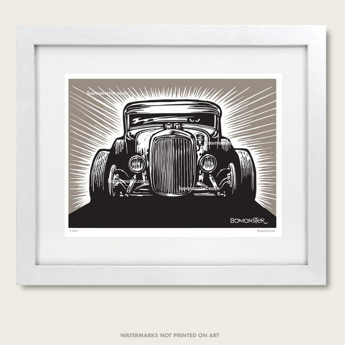 hot rod art by bomonster of a model a coupe front view