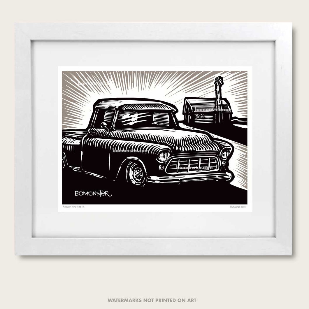 apache chevy truck and barn with american flag truck art by bomonster