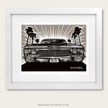 Load image into Gallery viewer, cadillac art by bomonster of early 1960s cadillac and palm trees