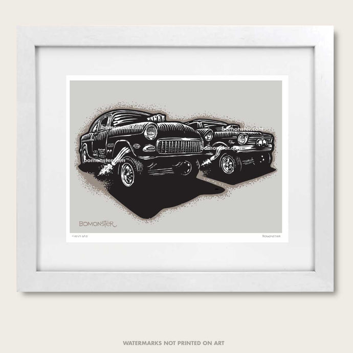 bomonster hot rod art of two chevy gasser drag race cars