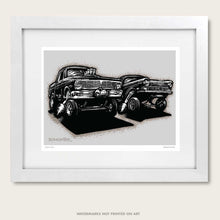 Load image into Gallery viewer, bomonster hot rod art of two ford gasser drag race cars