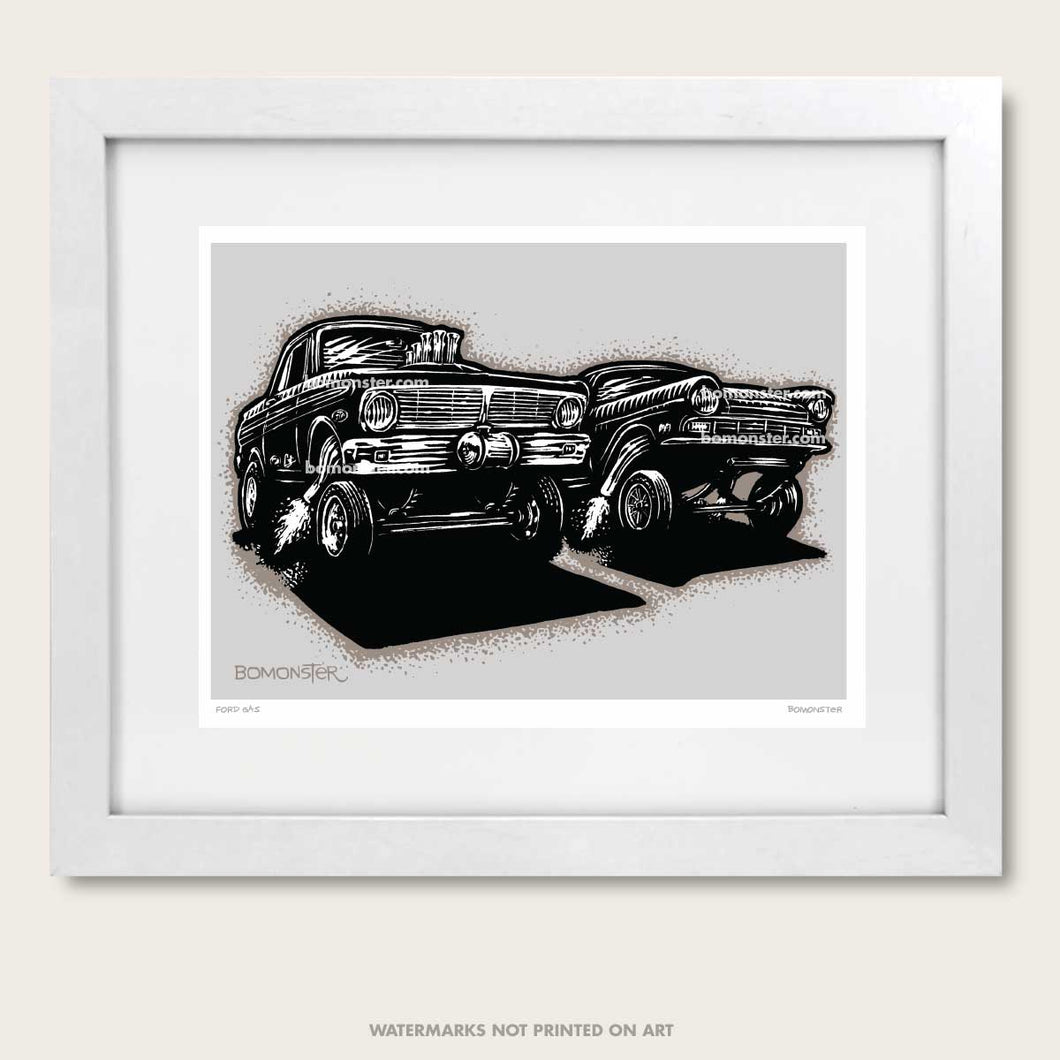 bomonster hot rod art of two ford gasser drag race cars