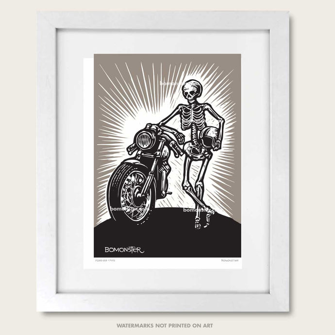 skeleton and classic cafe motorcycle art print by bomonster