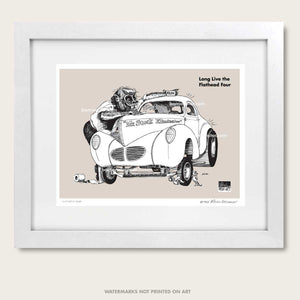 "Winston's Drag Racing Art ""Flathead Four"" Litho Art Print"