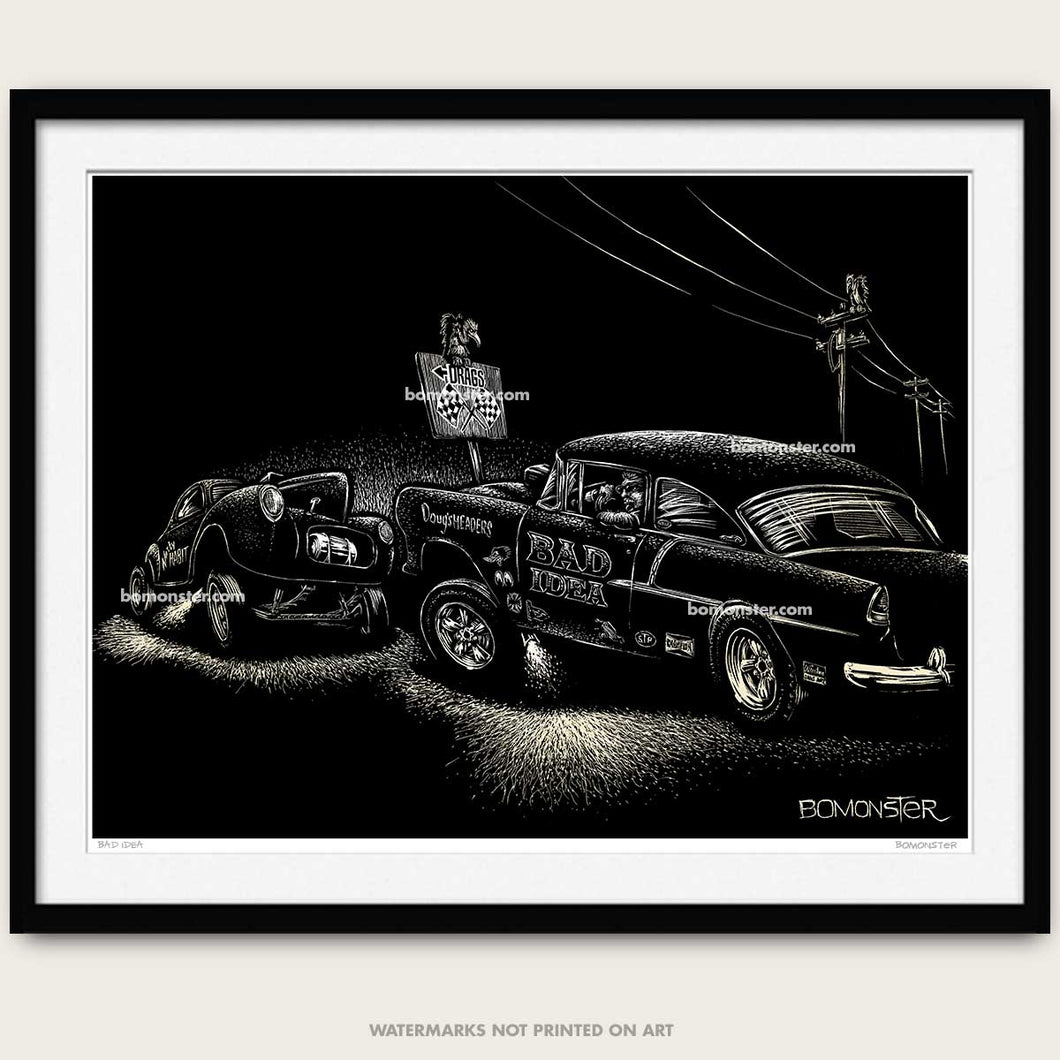 drag race art by bomonster of a 55 chevy gasser and a willys gasser