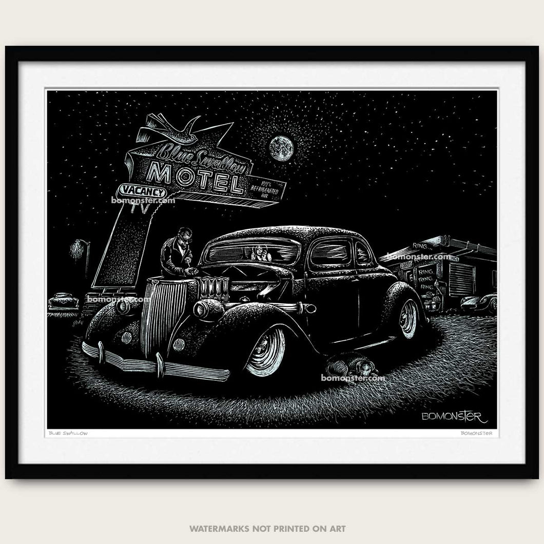 bomonster hot rod art of a 1936 custom ford stopping on route 66