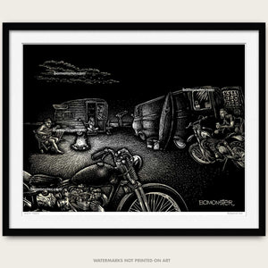 "Original Motorcycle Beach Art ""Good Times"""