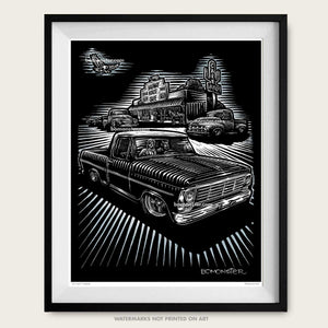 1969 ford f-150 truck and cafe art by bomonster