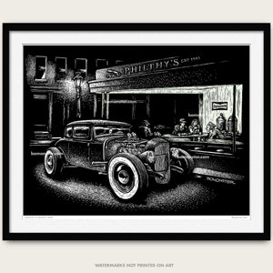 bomonster hot rod art of model a coupe added to ed hoppers nighthawks scene