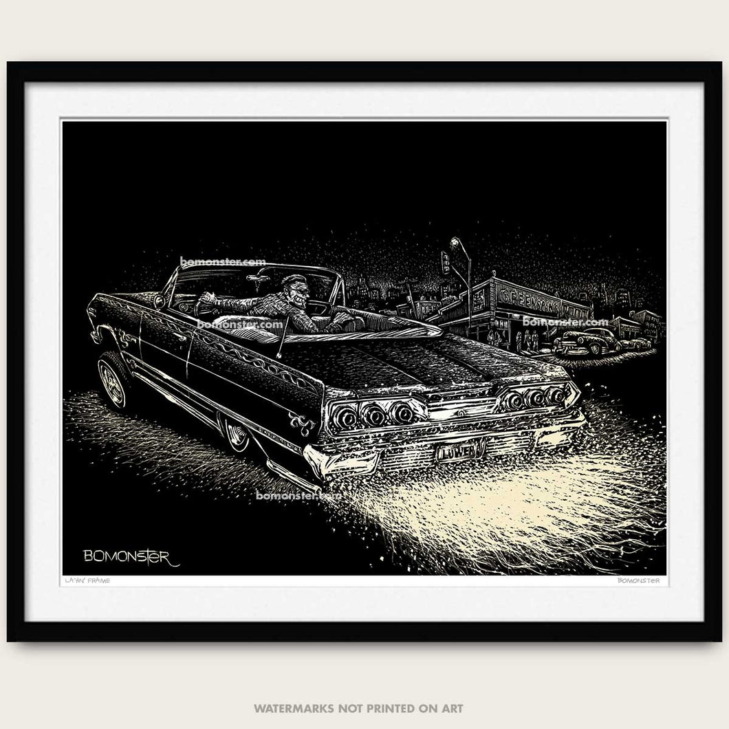 bomonster chevy impala lowrider art of car tail dragging and making sparks