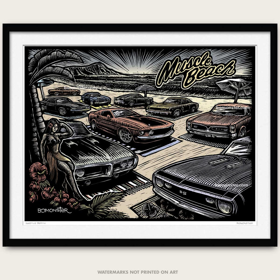 bomonster muscle car art of classic cars on beach