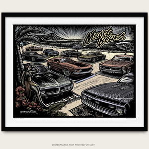"Original Muscle Car Art ""Muscle Beach"""