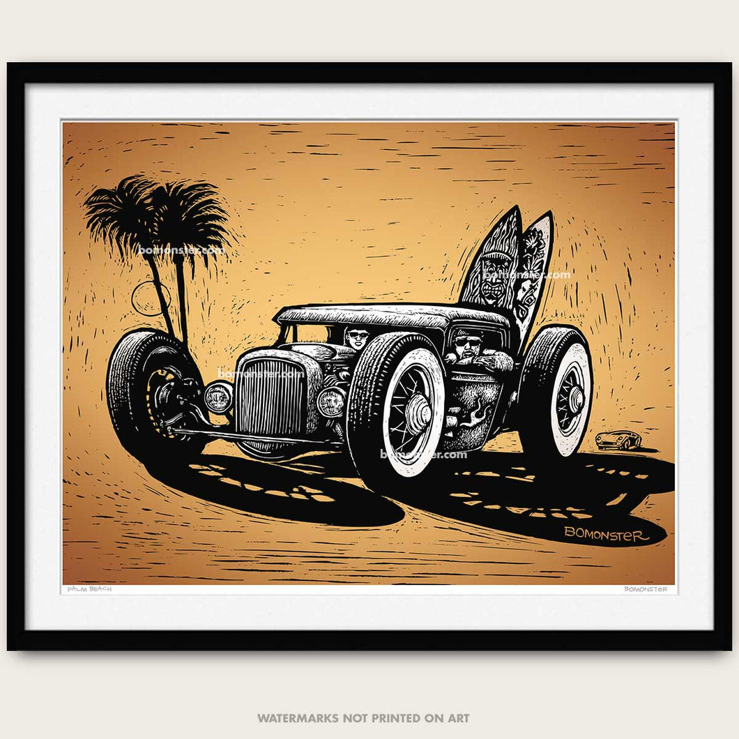 hot rod art by bomonster of rat rod with surf boards and palm tree