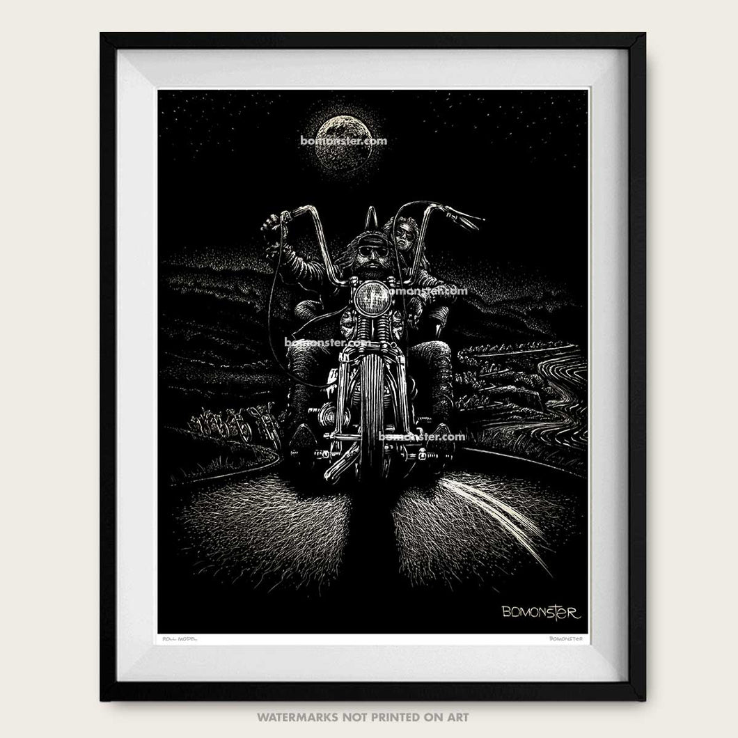 bomonster chopper art of david mann day moon original art