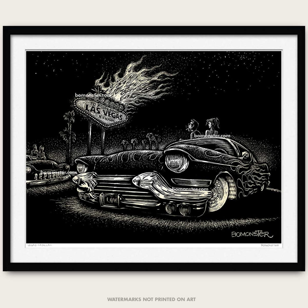 bomonster custom car art of a cadillac and custom merc watching the las vegas sign burn