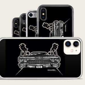 1960 cadillac and palm trees iphone case by bomonster
