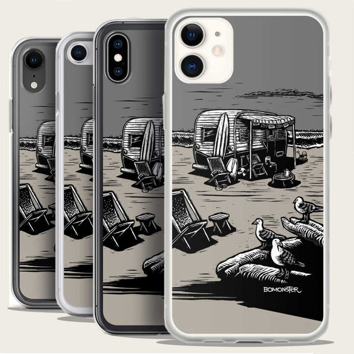 vintage traler on beach iphone case by bomonster