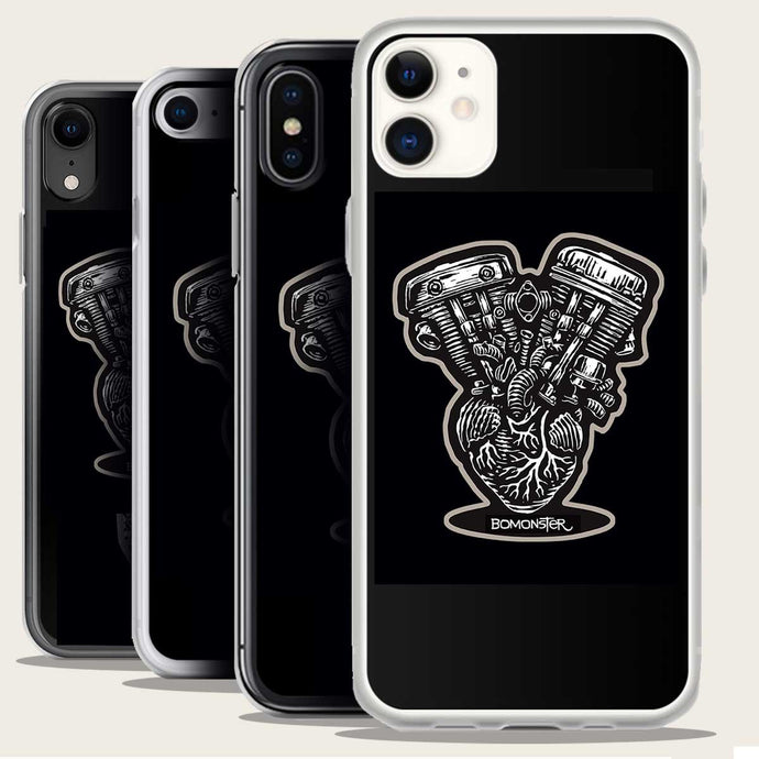 harley shovelhead and panhead on human heart iphone case by bomonster