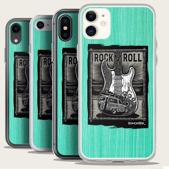 startocaster guitar and surf woody iphone case by bomonster