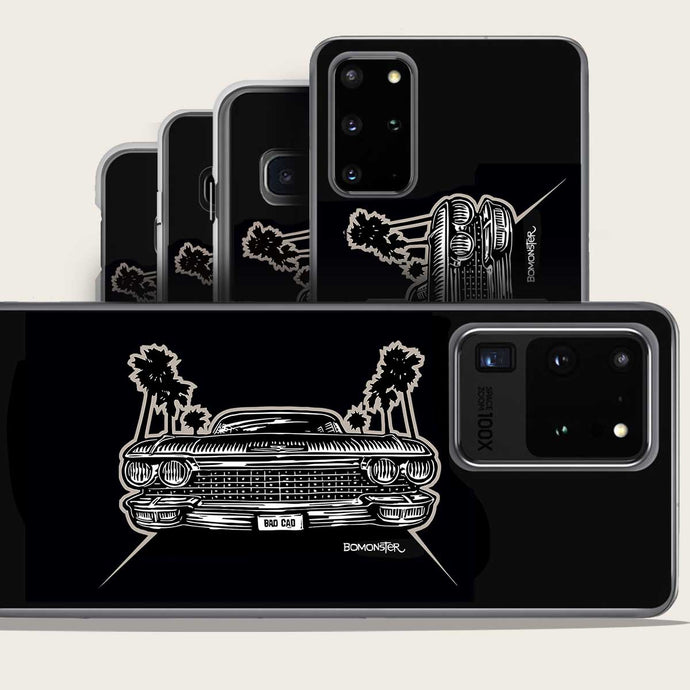 1960 cadillac and palm trees samsung galaxy phone case by bomonster