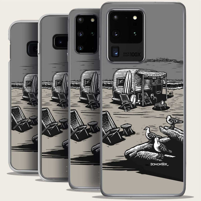 vintage trailer on beach samsung galaxy phone case