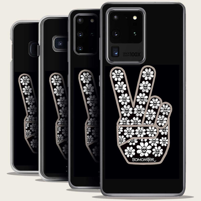 peace sign with skull flowers samsung galaxy case by bomonster